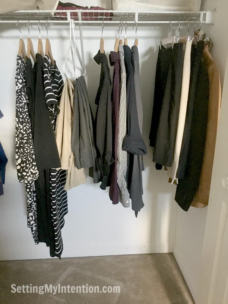fall capsule wardrobe in the closet