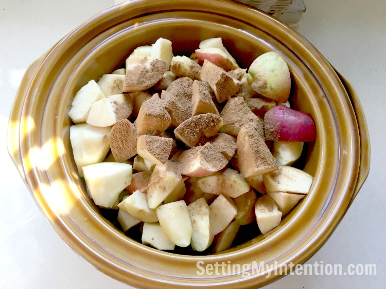 apple butter ingredients in the slow cooker