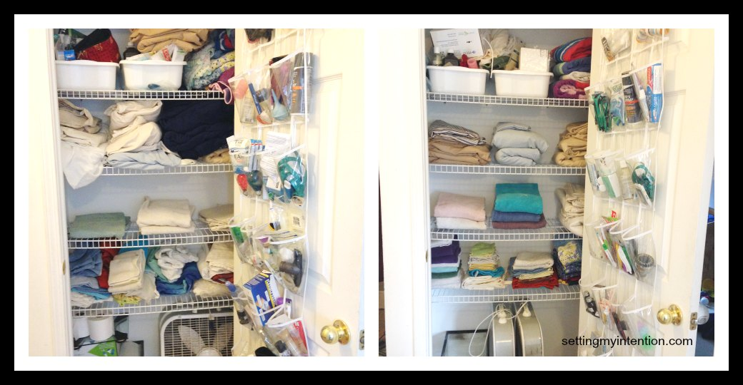 decluttering linen closet before and after photo